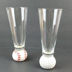 """GOLF & BASEBALL( Set of 2 ) 8.5"""" T Glasses"""